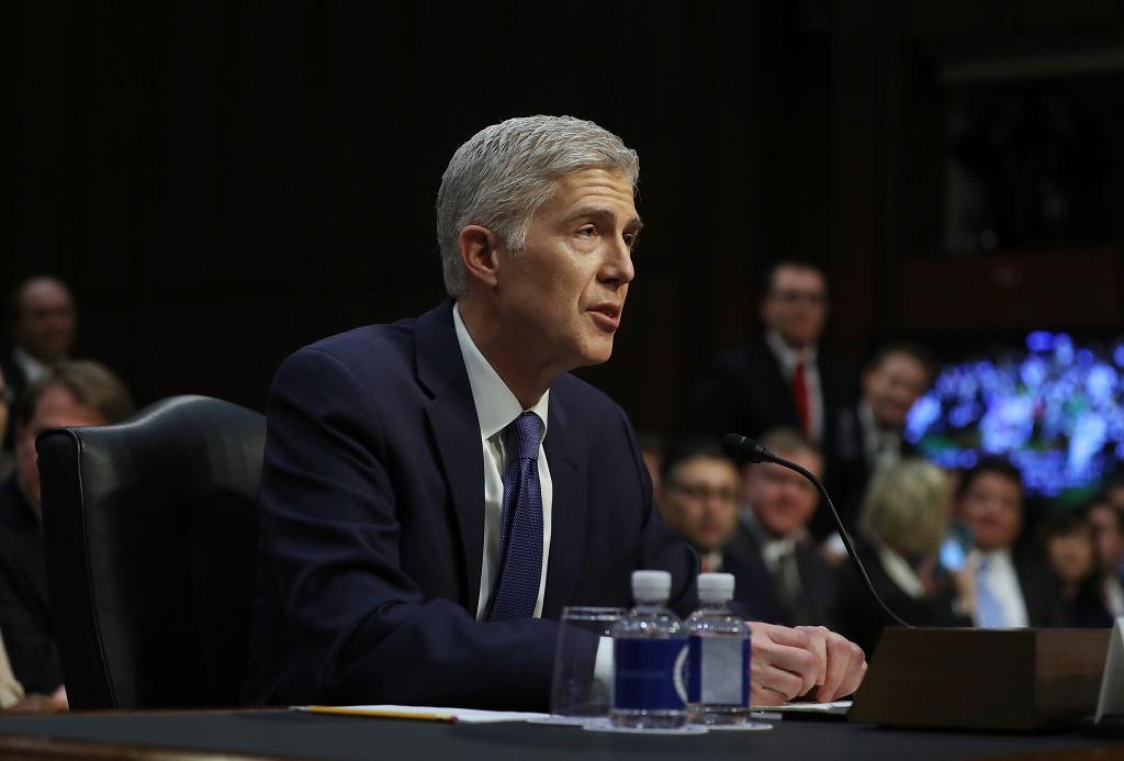 Judge Neil Gorsuch speaks during the first day of his Supreme Court confirmation hearing before the Senate Judiciary Committee in the Hart Senate Office Building on Capitol Hill March 20, 2017.