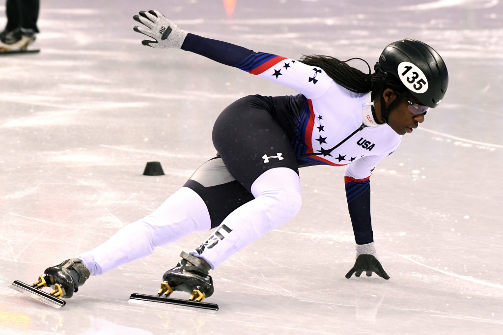U.S. speedskater Maame Biney, 18, competes in the 500-meter quarterfinal at the 2018 Pyeongchang Winter Olympics.