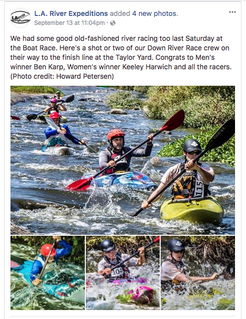 L.A. River Expeditions deleted this Facebook post on Wednesday, September 20. KPCC took a screenshot of the post before it was taken down.