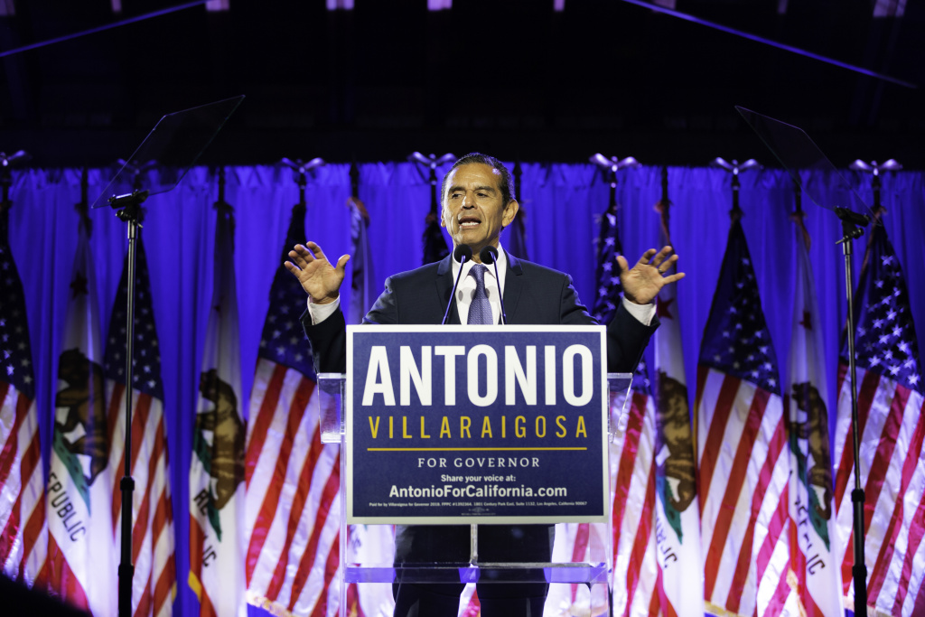Former Los Angeles Mayor Antonio Villaraigosa speaks at his election night party in Downtown Los Angeles, Calif. on Tuesday, June 5, 2018.