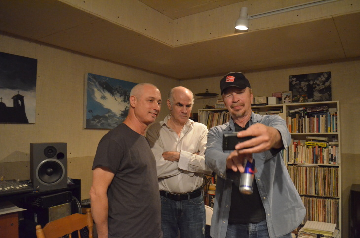 L-R Members of The Flesh Eaters, today, taking a selfie. DJ Bonebrake, Chris Desjardins, Dave Alvin.