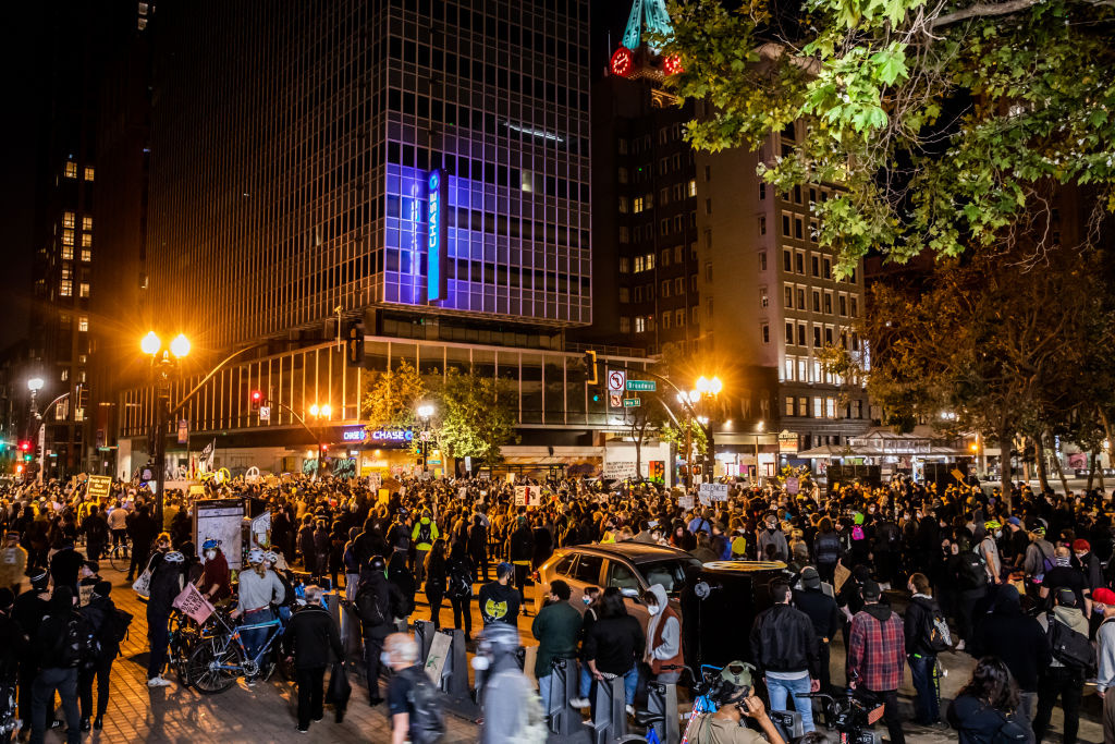 Hundreds of protester gather downtown on July 25, 2020 in Oakland, California. Demonstrators in Oakland gathered to protest in solidarity with Portland protests.