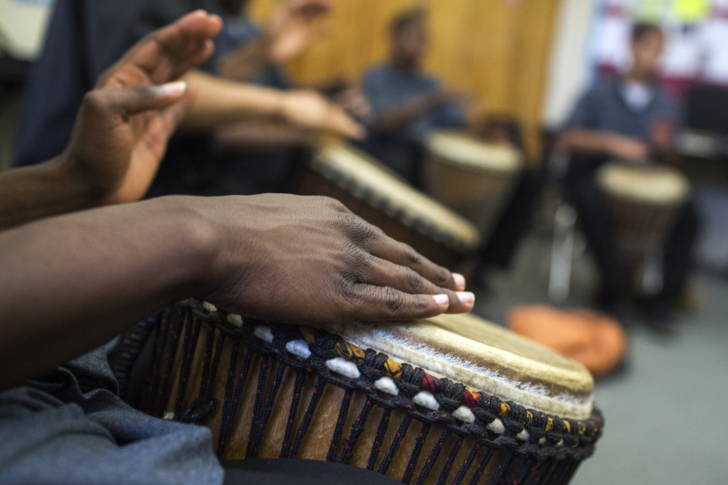 Students take an African drumming class at Camp Afflerbaugh, a juvenile detention facility in La Verne, on Wednesday afternoon, May 4, 2016. There is also an art class at Camp Afflerbaugh aimed towards behavior and aggressive replacement training.