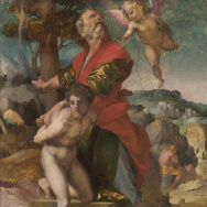 """The Sacrifice of Isaac,"" about 1528, Andrea del Sarto, oil on panel, on loan from the Cleveland Museum of Art for an exhibit on del Sarto at the Getty."