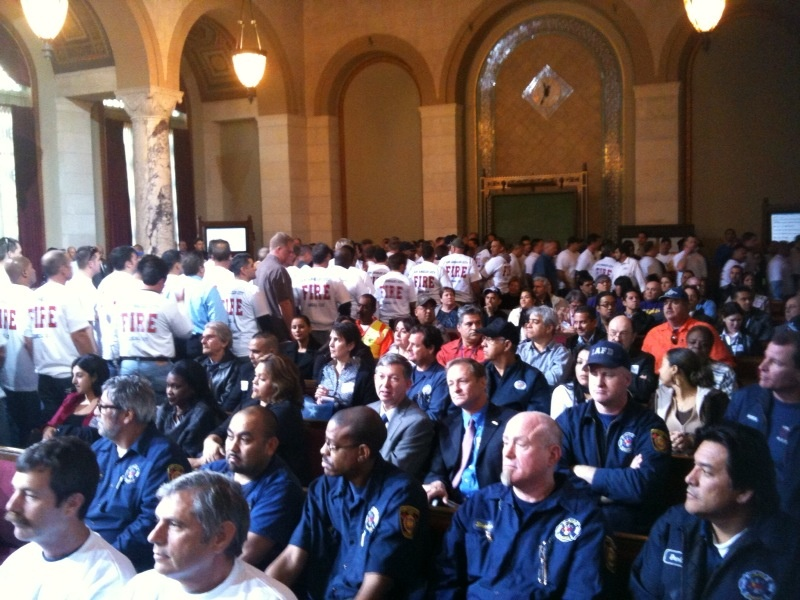Los Angeles city workers pack City Hall.  They asked the City Council to avoid extending unpaid furlough days and layoffs. The city faces a current $62 million shortfall, and a projected $350 million deficit for the fiscal year that starts July 1.