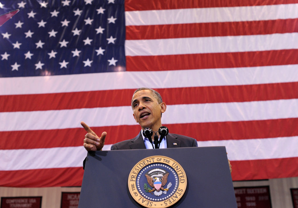 US President Barack Obama speaks during a campaign rally in Cincinnati, Ohio, on November 4, 2012. Obama and Republican rival Mitt Romney are both showing signs of exhaustion as they dart from swing state to swing state, trying to fire up enthusiasm among supporters and win over any last wavering voters before November 6 election.