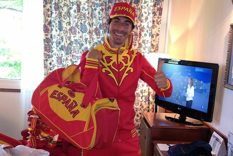 Field hockey player Alex Fabregas modeled Spain's Olympic outfit in this photo he posted on Twitter. Athletes have been publicly stoic about the colorful clothing, which was provided for free.
