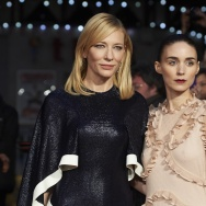 "Australian actress Cate Blanchett (L) and US actress Rooney Mara pose on arrival for a gala screening of the movie ""Carol."""