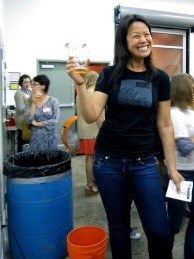 Ting Su, founder of the brewery's Women's Beer Forum enjoying a pint