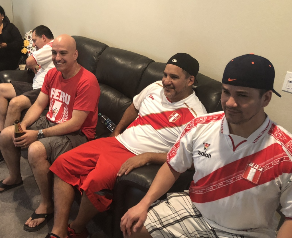 Take Two staffer, Lori Galarreta's household watches the Peru vs. Denmark game.
