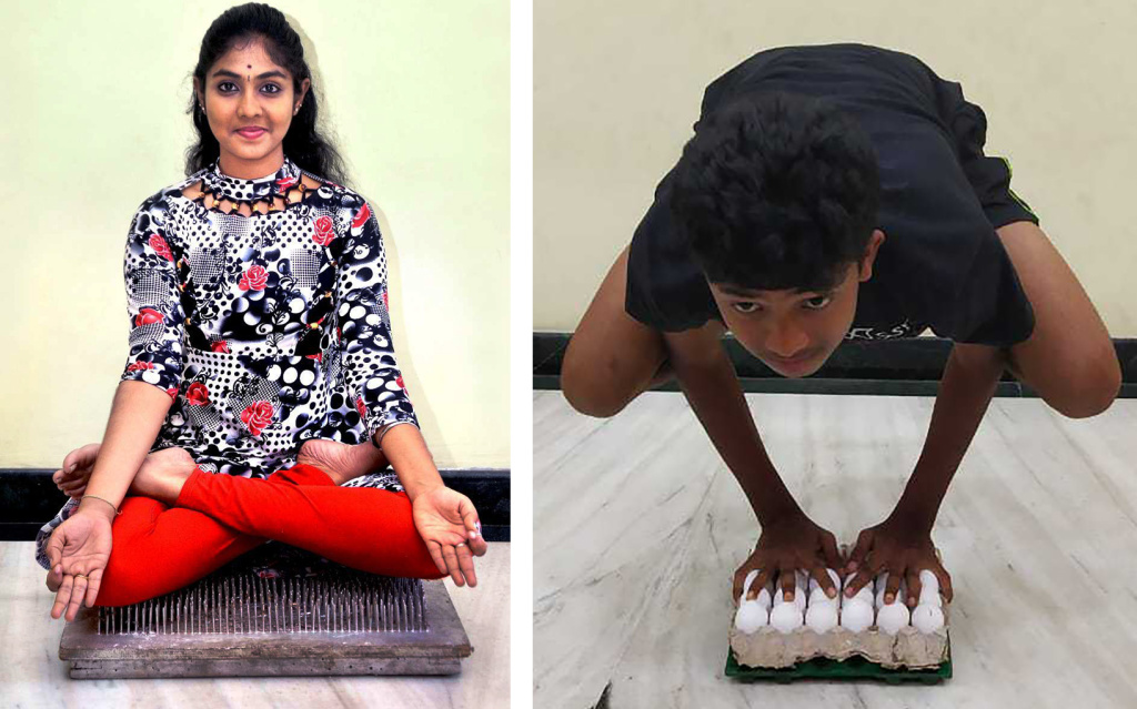 She nailed it! Uttrasree Ilango, 17, can hold lotus pose on a bed of 2,209 nails for an hour. Her younger brother Dheepak, 14, can hold crow pose without cracking an egg.