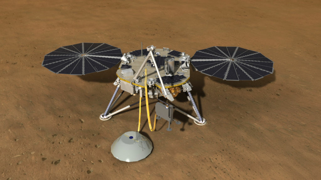 This artist's rendition depicts the InSight spacecraft deploying its seismometer and heat flow experiments on Mars.