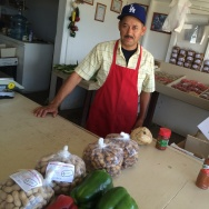 Javier Gonzalez, at the farmstand where he's worked for 25 years, says the drought is a top issue for customers and workers that he talks with.