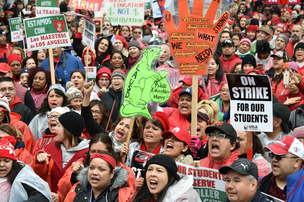 Striking teachers and their supporters rally in downtown Los Angeles, California on the second day of the teachers strike, on January 15, 2019.