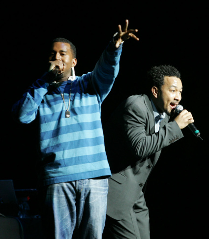 Kanye West and John Legend perform at the Radio City Music Hall in New York, NY.