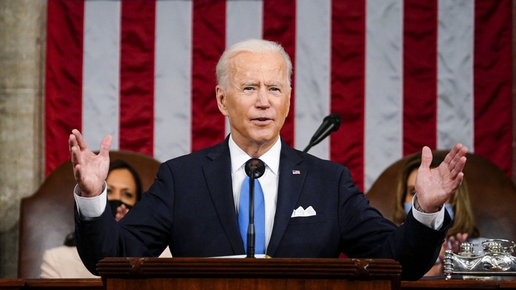 President Biden addresses a joint session of Congress Wednesday evening in the U.S. Capitol.