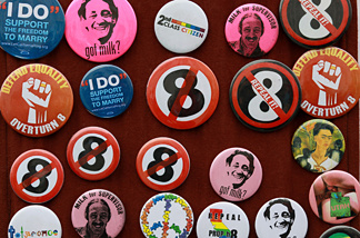 A display of political buttons opposing Proposition 8 during a 2010 San Francisco rally to celebrate the ruling to overturn the voter-approved ban on same-sex marriage.