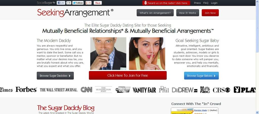 A screenshot of 'SeekingArrangement.com' taken on January 21, 2013.