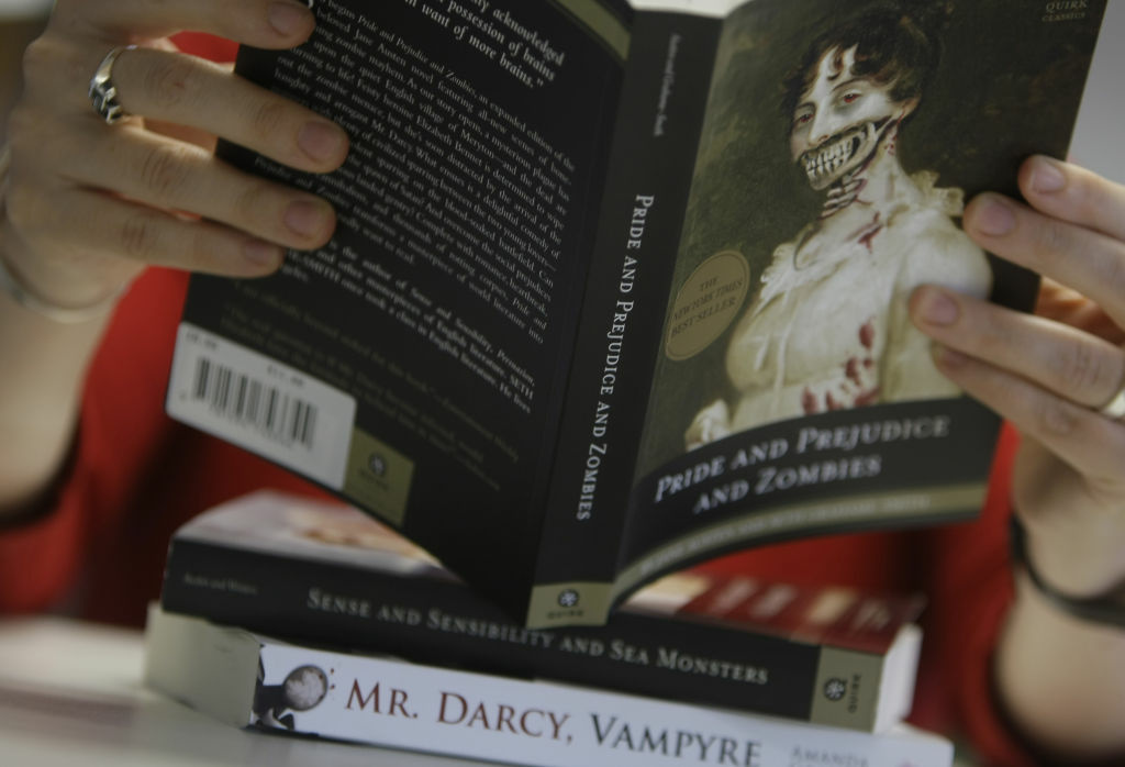 In this image taken in London, Tuesday, Aug. 11, 2009, three books are shown of a new breed of classic author novel and mutant beast. It is a truth universally acknowledged that a Jane Austen novel in possession of added gore is a surefire best-seller.