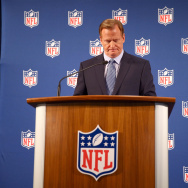 NFL Commissioner Roger Goodell talks during a press conference at the Hilton Hotel on Sept. 19, 2014 in New York City. Goodell spoke about the NFL's failure to address domestic violence, sexual assault and drug abuse in the league.
