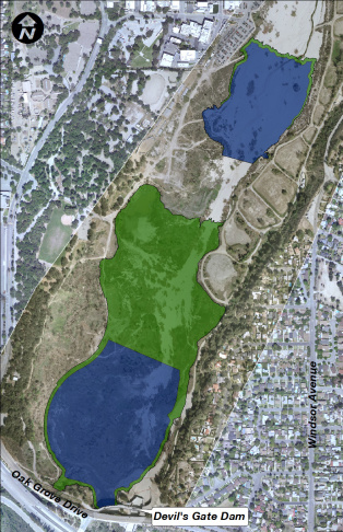 One of the proposed maintenance configurations of the Hahamongna reservoir