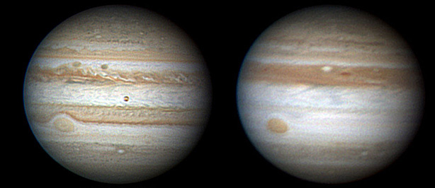 The dark band in Jupiter's southern hemisphere was visible back in June 2009 (left), but by May 2010, it was gone.