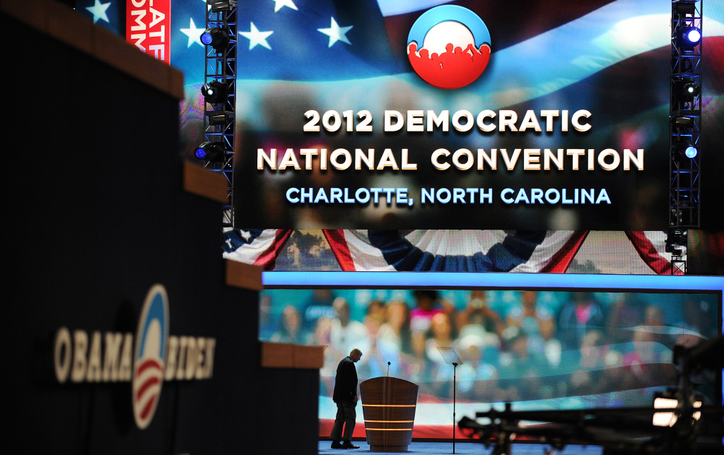 A worker checks the stage at the Time Warner Cable Arena hours before the start of the Democratic National Convention (DNC), September 4, 2012 in Charlotte, North Carolina.