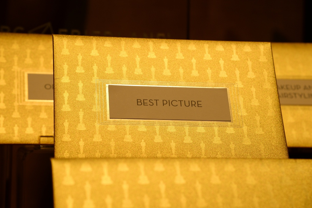 Announcement cards and envelopes by designer Marc Friedland which are used by presenters at the Oscars to announce winners.