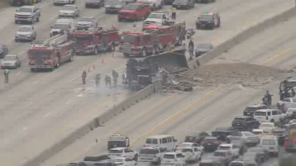 A major crash involving a truck and another vehicle affected both sides of the 405 Freeway in the Sepulveda Pass on April 30, 2018.