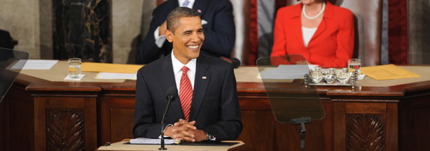 President Barack Obama addresses a joint session of Congress on his embattled healthcare reform plan September 9, 2009 at the US Capitol in Washington, D.C.