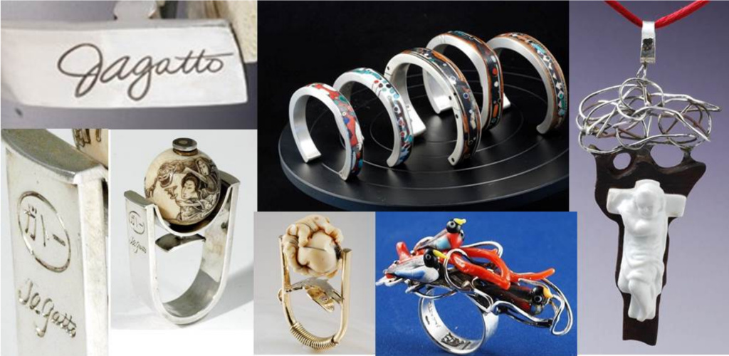 Photographs distributed by the Los Angeles Police Department show jewelry that was made by Joseph Gatto. In an effort to track down a suspect in Gatto's murder, police are hoping to find someone who may have unwittingly purchased from a pawn shop one of the items stolen from Gatto's home.