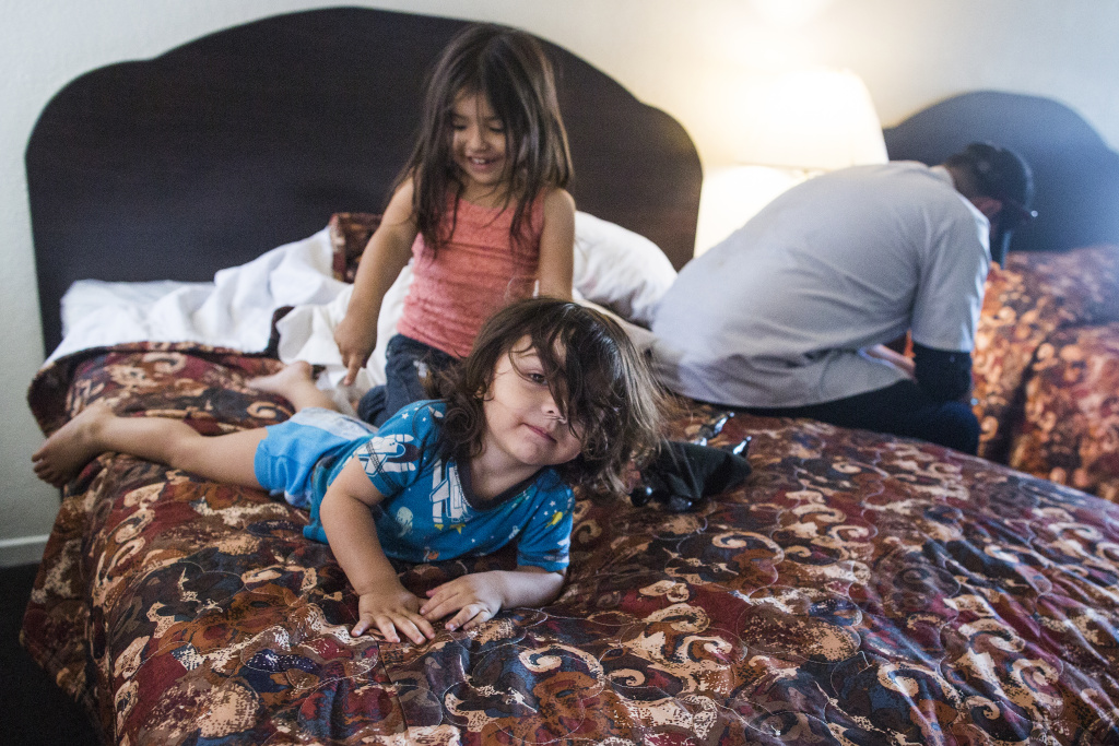Two-year-old Elyiah Balam and four-year-old Jeniah Balam are living with their family at Golden Motel. The motel could be redeveloped as affordable housing with 169 units for veterans and formerly homeless people.