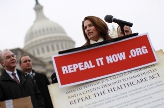Rep. Michele Bachmann (R-Minn.) speaks at a news conference on Jan. 18, 2011 in Washington, DC., where Republican members of the House displayed petitions Americans have signed demanding the repeal of healthcare legislation.