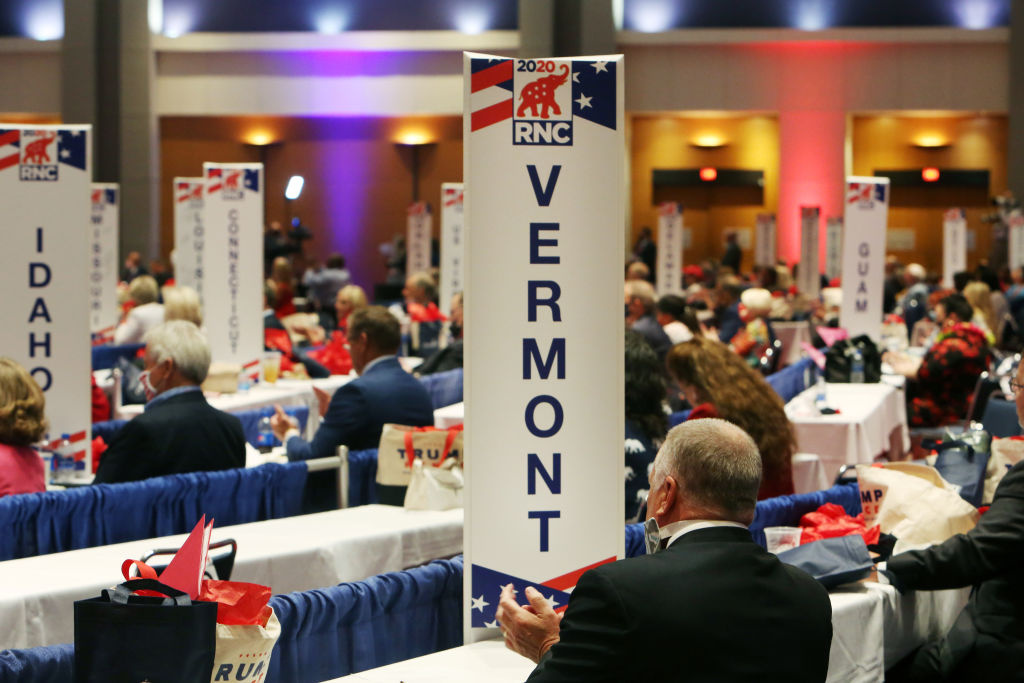 Delegates applaud as they cast their votes on the first day of the Republican National Convention at the Charlotte Convention Center on August 24, 2020 in Charlotte, North Carolina.