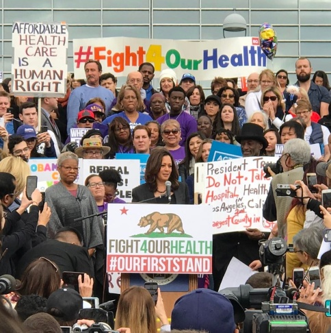 Kamala Harris speaks to a crowd outside the Los Angeles County/USC Medical Center on Sunday Jan. 15, 2017.