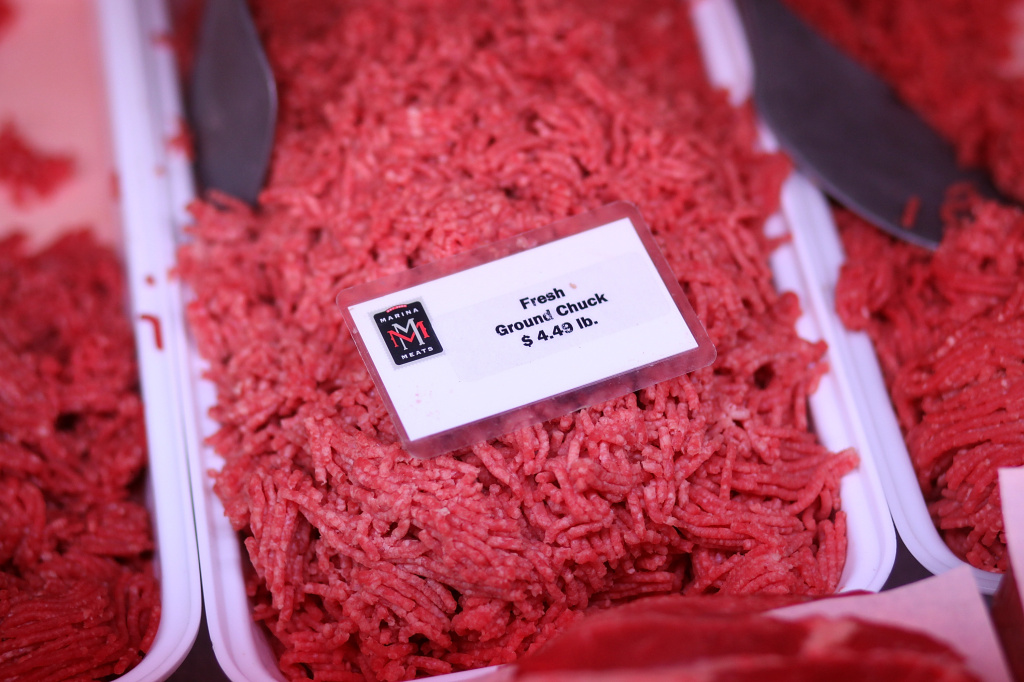 Fresh ground beef is displayed at Marina Meats on January 31, 2012 in San Francisco, California.