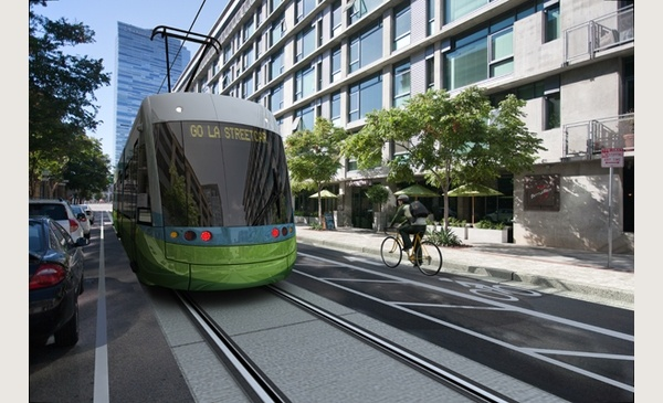 An artist rendering shows downtown L.A.'s proposed streetcar.