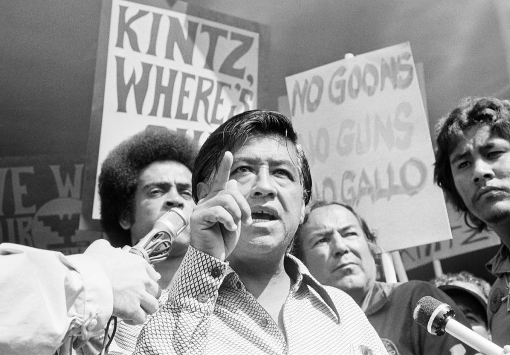 In this Sept. 16, 1975 file photo, head of the United Farm Workers Union Cesar Chavez speaks at the headquarters for the state Agriculture Labor Relations Board board to call for the resignation of Walter Kintz, legal counsel for the board, in Sacramento, California. Chavez was born near Yuma, Arizona on March 31, 1927 and died in 1993.