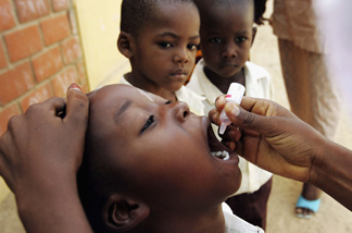 A Nigerian schoolboy is vaccinated against polio during a mass nationwide polio inoculation April 12, 2005, in Kano, Nigeria.