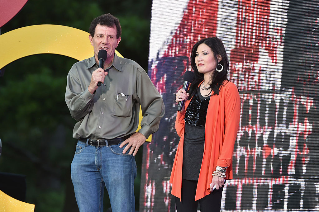 Nicholas Kristof and Sheryl WuDunn speak onstage at the 2014 Global Citizen Festival to end extreme poverty by 2030 in Central Park on September 27, 2014 in New York City.