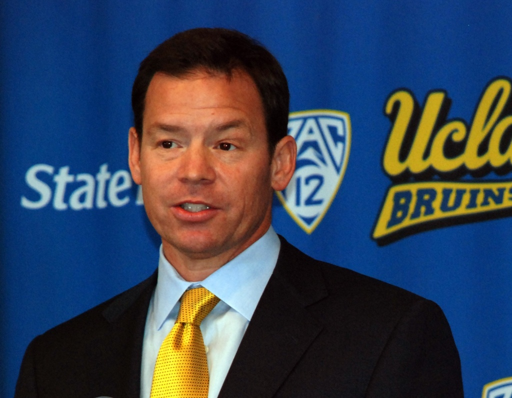 File: Press conference introducing Jim L. Mora as new UCLA head football coach, Dec. 13, 2011.