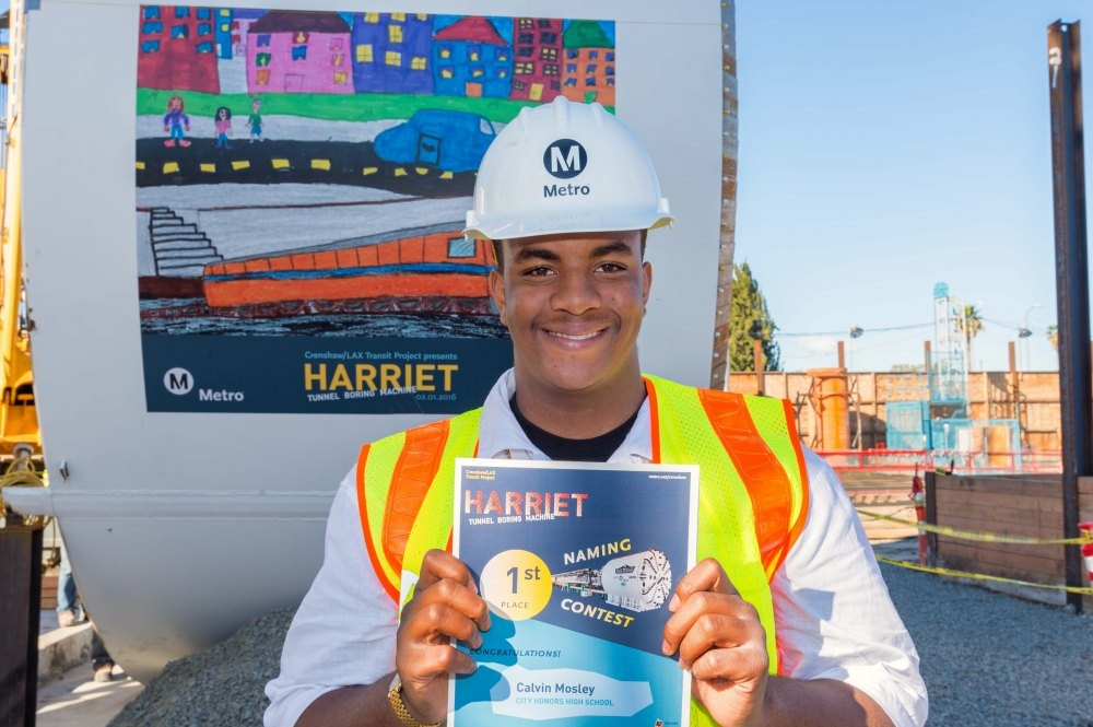 """Essay contest winner Calvin Mosley proposed the """"Harriet"""" name chosen by Los Angeles school children for the tunnel boring machine that will help clear the way for the Crenshaw/LAX rail line."""