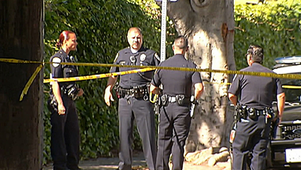 Police investigate a shooting in Santa Monica that sent two men in their 20s to a hospital on Tuesday June 11, 2013. The shooting took place near Santa Monica College, where a shooting rampage four days earlier left six people dead.