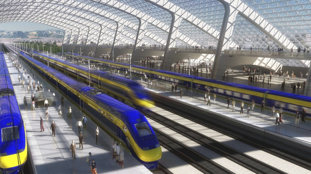 A rendering of a station for high-speed rail in California.