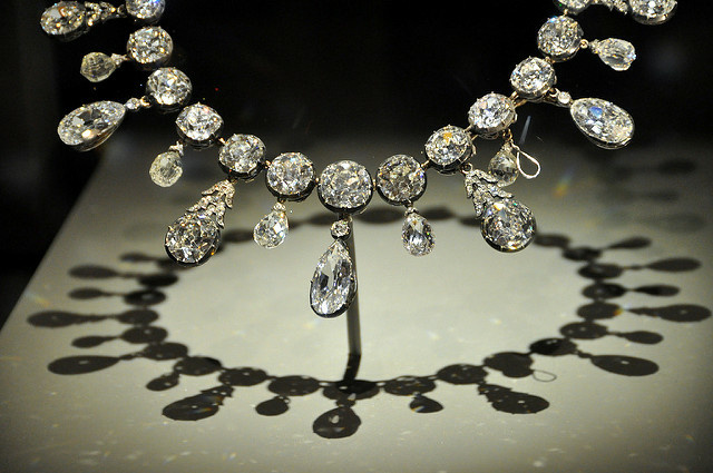 A diamond necklace on display at the Smithsonian Institution's National Museum of Natural History in Washington, DC.