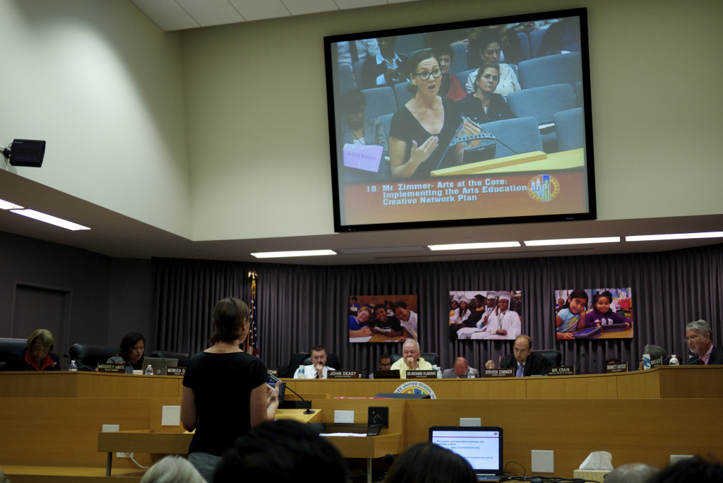 Danielle Brazell, executive director of Arts for LA, speaks during the public comment period for the Steve Zimmer's arts education resolution at the September 10 LAUSD school board meeting.