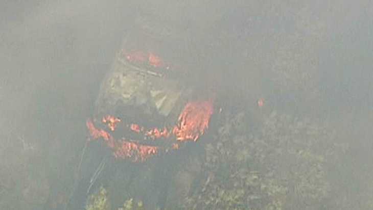 A brush fire burns in the Ventura County city of Fillmore on Monday, April 8, 2013.