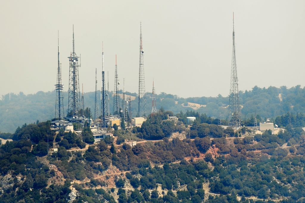 Radio Transmitters stand atop Mount Wilson
