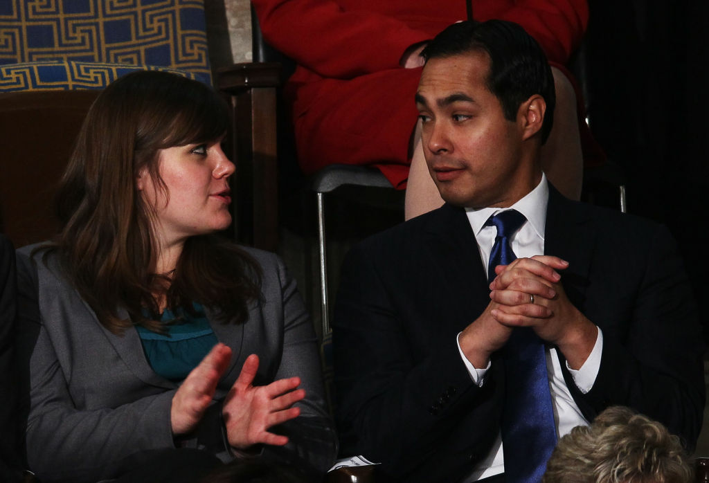 University of Colorado Denver student Mahala Greer and Mayor of San Antonio Julian Castro talk prior to U.S. President Barack Obama's State of the Union address on January 24, 2012 in Washington, DC. Castro has just been selected as the keynote speaker for the Democratic National Convention in September.
