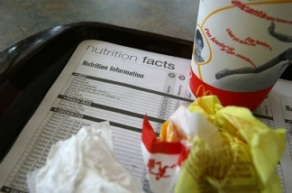 A placemat with nutritional information is seen on a tray at a McDonald's restaurant October 1, 2008 in San Rafael, California.